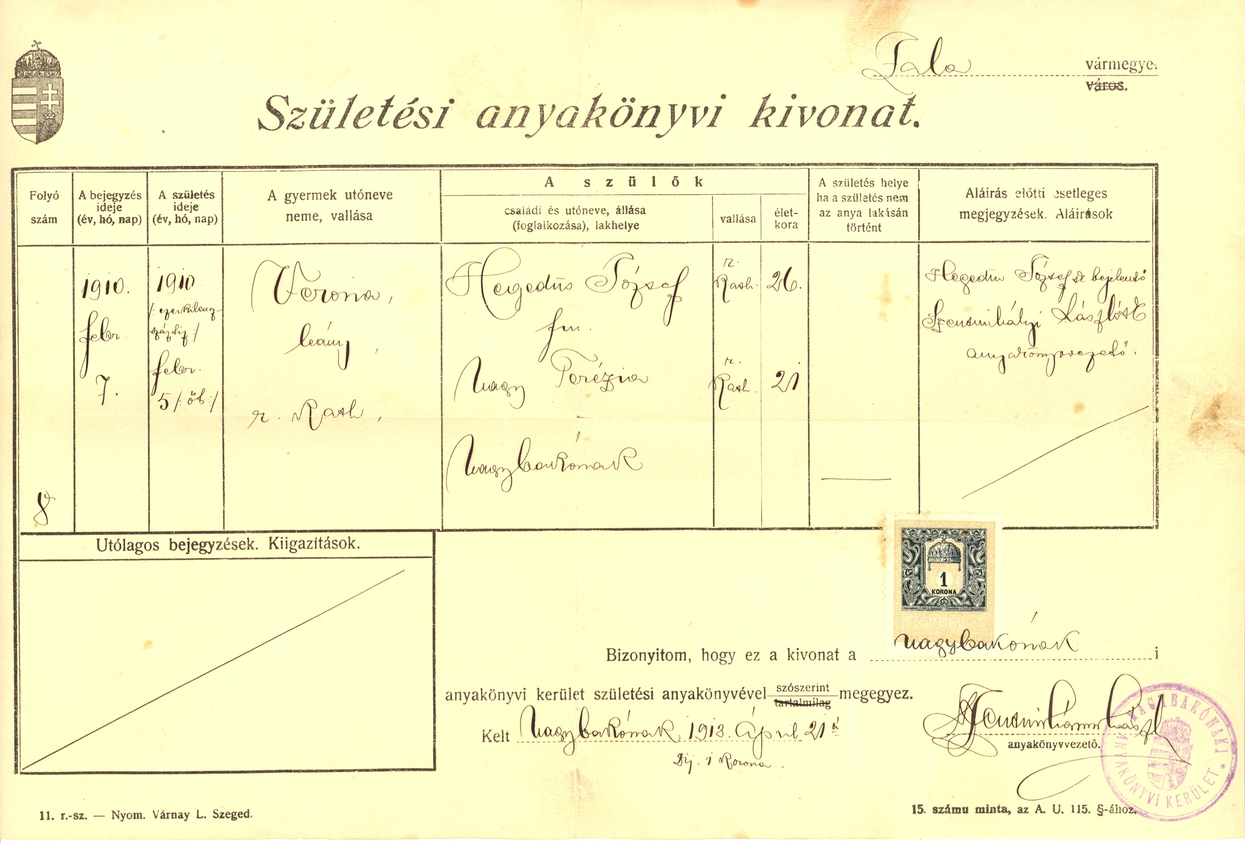 Kovacs documents vera certificate of birth issued 1918 aiddatafo Images